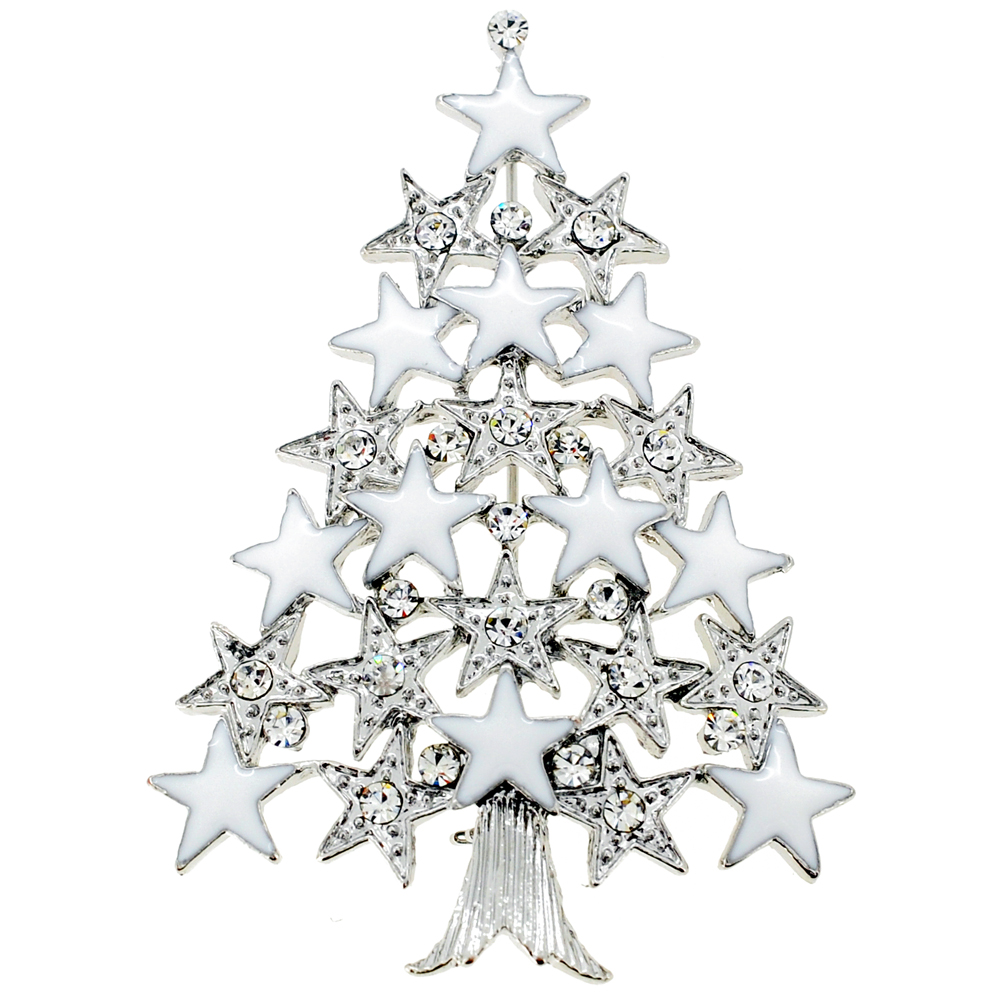 Christmas Tree Farm Network: Chrome Christmas Tree With Star Crystal Pin Brooch