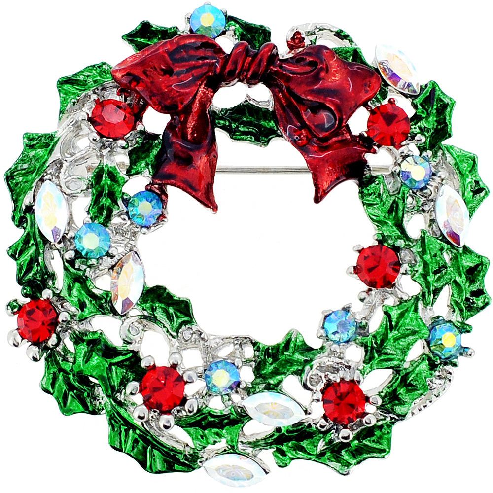 Red Bow Christmas Wreath Crystal Pin Brooch