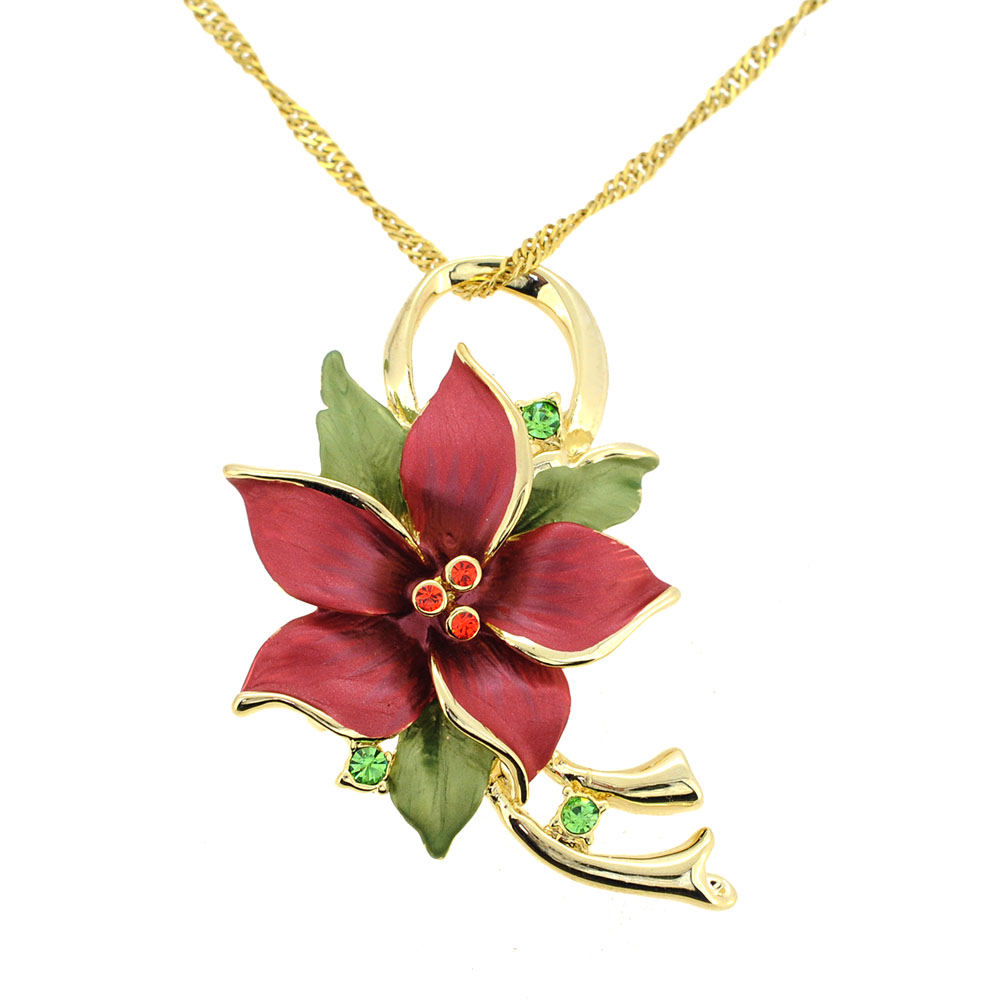 Red poinsettia flower christmas swarovski crystal flower pin red poinsettia christmas star flower pin broochpendantchain not included aloadofball Choice Image