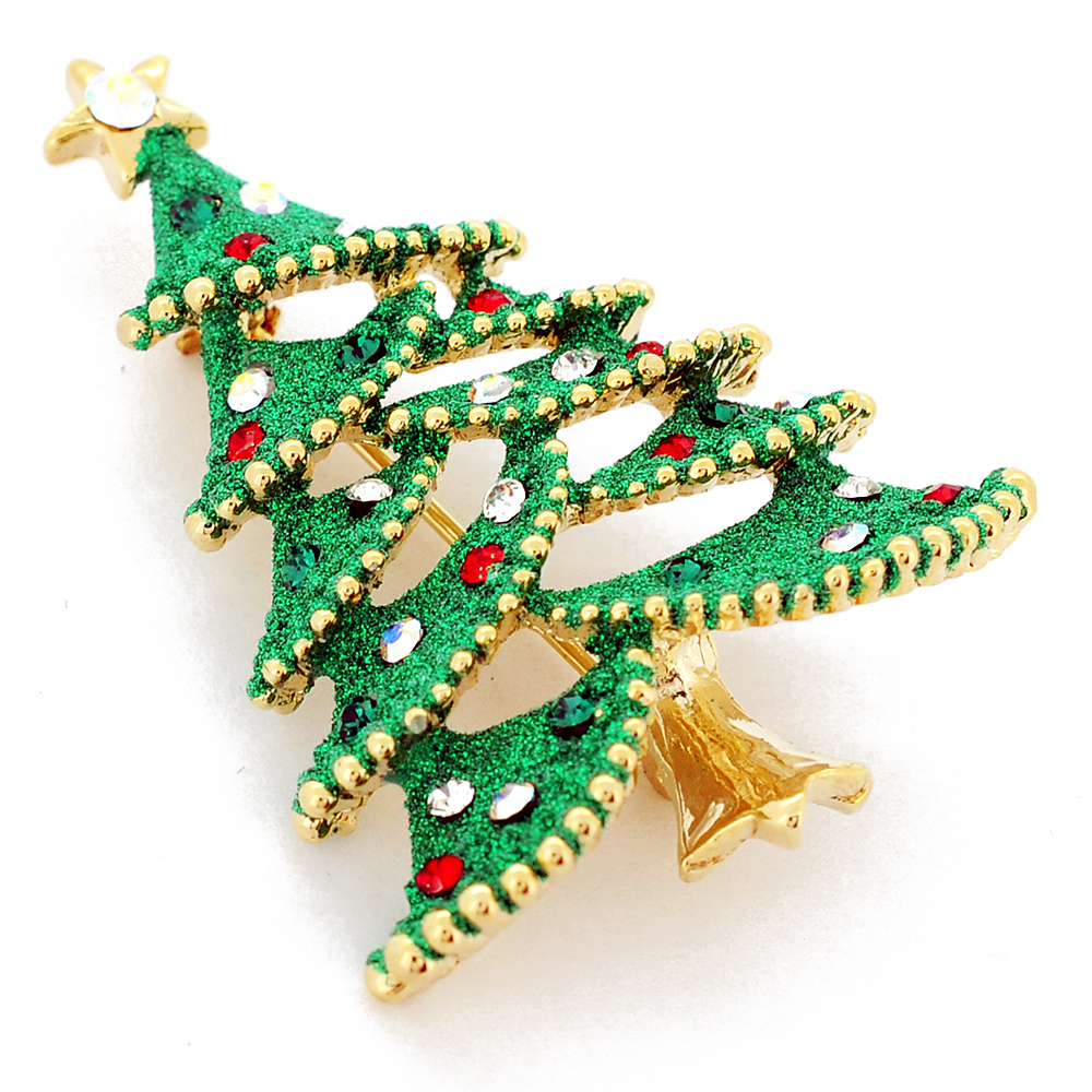 with brooch red tree on and christmas gold setting a base product vintage star pin tone