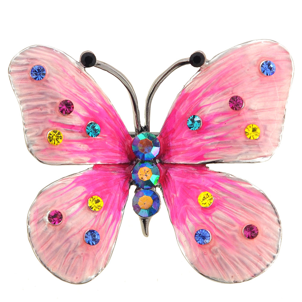 Light Pink Rainbow Butterfly Crystal Brooch Pin ...