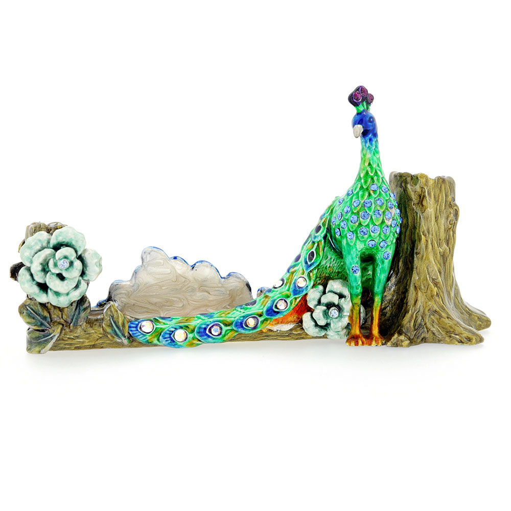Green peacock business card holder with swarovski crystal green peacock business card holder with swarovski crystal colourmoves