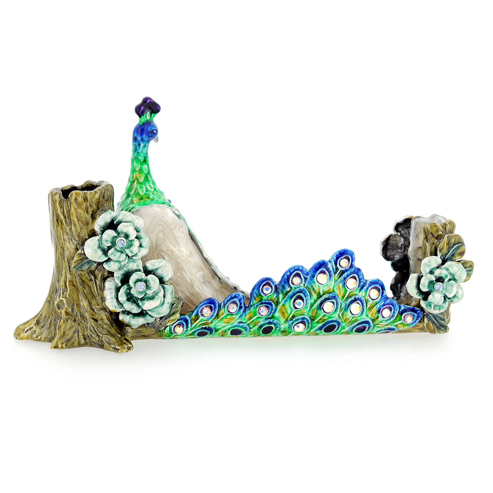 Green Peacock Business Card Holder With Swarovski Crystal
