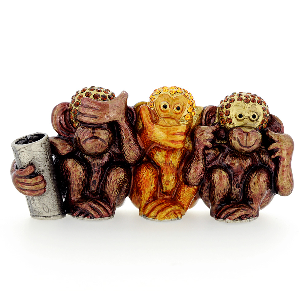 Three Wise Monkeys Business Card Holder - See No Evil Hear No Evil ...