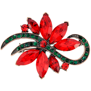Red Christmas Poinsettia Flower Crystal Pin Brooch