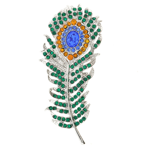Green Eye Peacock Feather Crystal Pin Brooch