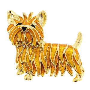 Brown Scottie West Terrier Dog Crystal Pin Brooch