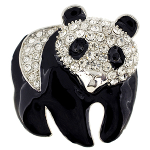 Black White Panda Crystal Pin Brooch