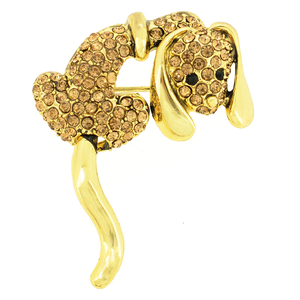 Topaz Crystal Dog Pin Brooch