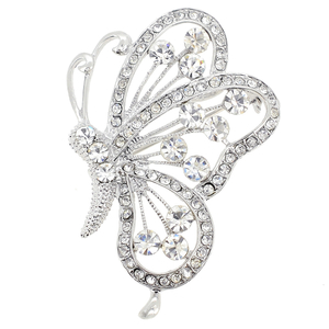 Chrome Flying Butterfly Crystal Brooch and Pendant
