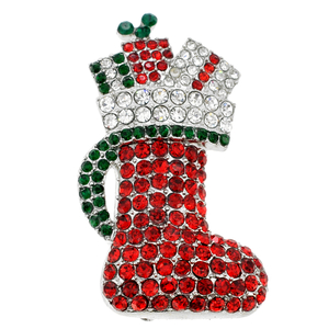 Red Crystal Christmas Stocking Pin Brooch