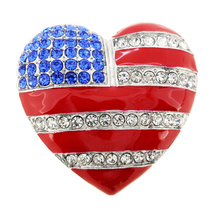 American Flag Patriotic Heart Pin Brooch