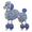 Sapphire Blue Poodle Dog Crystal PIn Brooch
