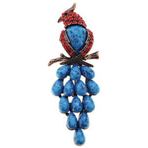 Vintage Ruby Parrot Pin Brooch with Turquoise Gem Drop Stones