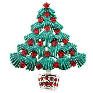 Green Christmas Tree Red Crystal Pin Brooch