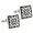 Fleur-De-Lis Black and White Enamel Square Cufflinks
