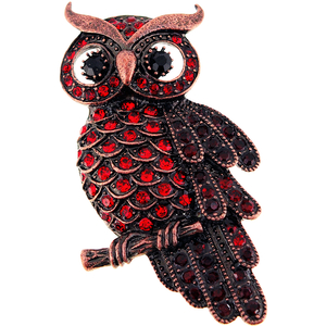 Vintage Style Ruby Red Owl Bird Crystal Pin Brooch