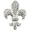 Silver Chrome Fleur-De-Lis Crystal Brooch and Pendant