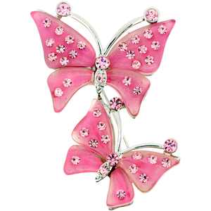 Pink Rose Couple Butterfly Pin Brooch