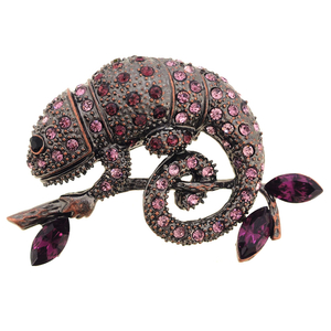 Amethyst Purple Chameleon Reptile Crystal Pin Brooch