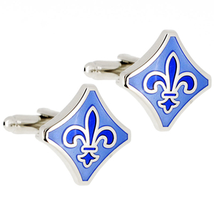 Blue Fleur-De-Lis Square Sign Cufflinks