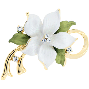 White Poinsettia Christmas Flower Swarovski Crystal Pin Brooch and Pendant