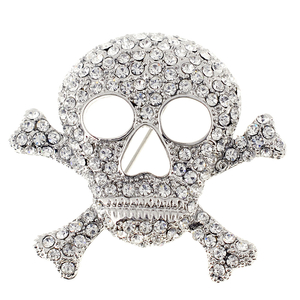 Silver Cross Bones Skull Crystal Pin Brooch