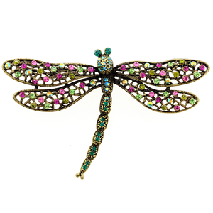 Multicolor Dragonfly Crystal Pin Brooch And Pendant