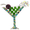 Green Martini Glass Crystal Pin Brooch