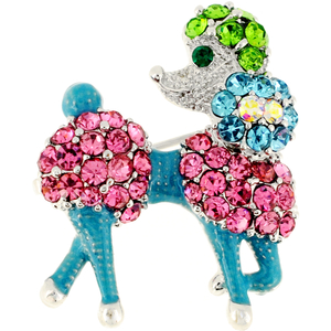 Multicolor Retro Poodle Dog Crystal Pin Brooch