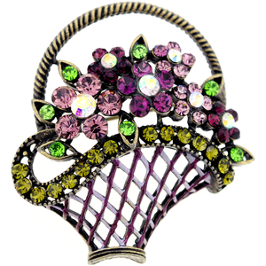 Purple Flower Basket Antique Style Crystal Pin Brooch
