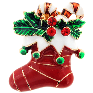 Red Stocking with Ornaments Swarovski Crystal Christmas Lapel Pin