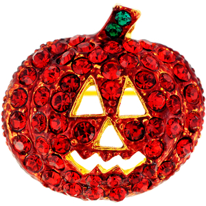 Siam Pumpkin Halloween Crystal Pin Brooch