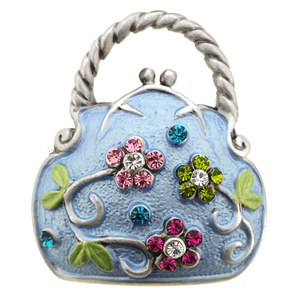 Multicolor Flower Blue Handbag Purse Swarovski Crystal PinBrooch