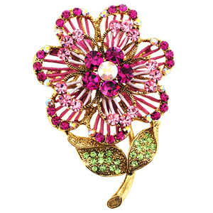 Pink Swarovski Crystal Flower Pin Brooch And Pendant