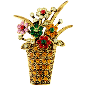 Brown Flower Basket Swarovski Crystal Pin Brooch