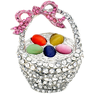 Multicolor Easter Basket Crystal Brooch Pin
