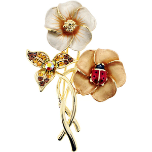 Brown Hawaiian Flower With Red Ladybug Swarovski Crystal Pin Brooch