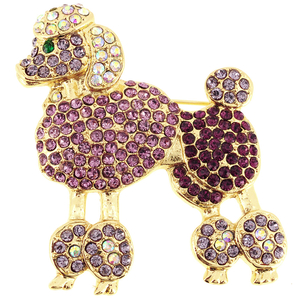 Fuchsia Pink Poodle Dog Crystal Brooch Pin