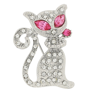 Crystal Cat Brooch Pin