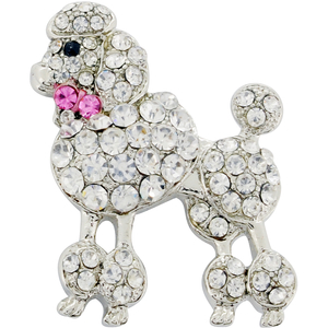 Chrome Poodle Dog With Pink Bow Crystal Brooch Pin
