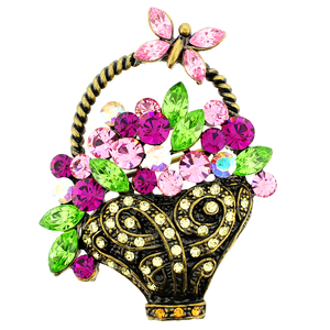 Multicolor Flower Basket With Butterfly Swarovski Crystal Pin Brooch