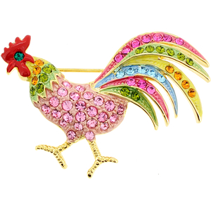 Multicolor Rooster Crystal Pin Brooch