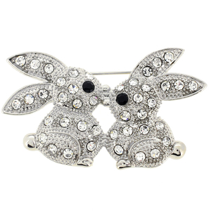 Silver Crystal Kissing Bunny Easter Brooch Pin