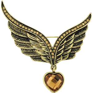Vintage Style Vistory Eagle Wing Crystal Pin Brooch