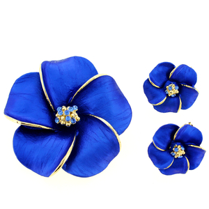 Blue Hawaiian Plumeria Swarovski Crystal Flower Pin Brooch And Earrings Gift Set