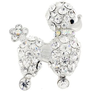 Chrome Poodle Dog Crystal Pin Brooch