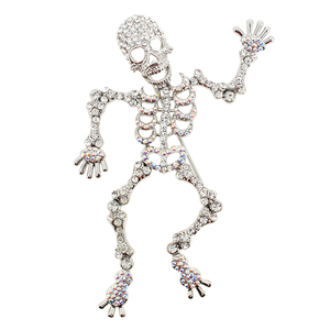 Crystal Skeleton Pin Brooch And Pendant