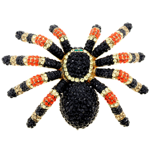 Large Black Spider Swarovski Crystal Shoulder Pin Brooch