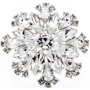 Chrome Flower Bridal Wedding Crystal Pin Brooch and Pendant